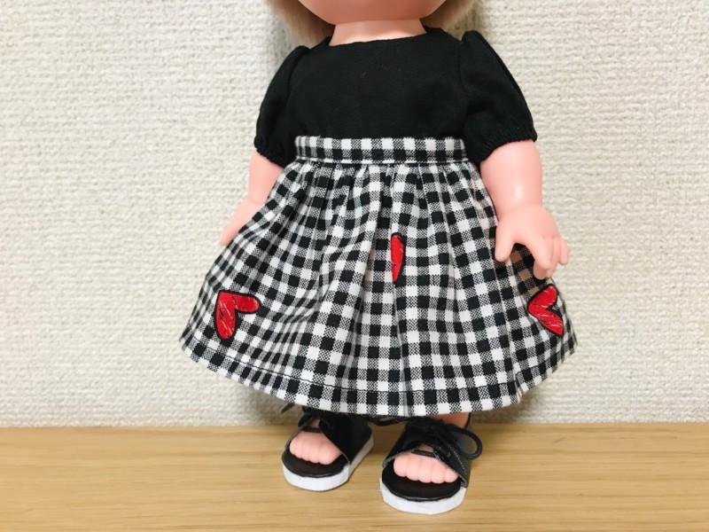 メルちゃんのベルト付きギャザースカート