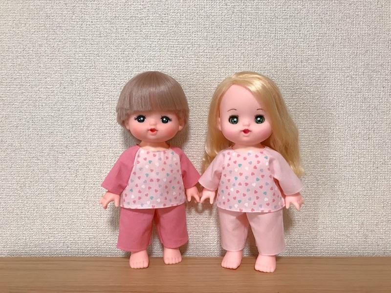 メルちゃんとリリーちゃんの手作りパジャマ