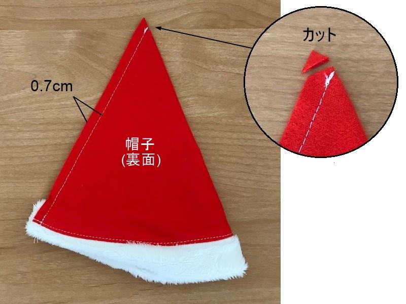 メルちゃんの簡単サンタクロース帽子